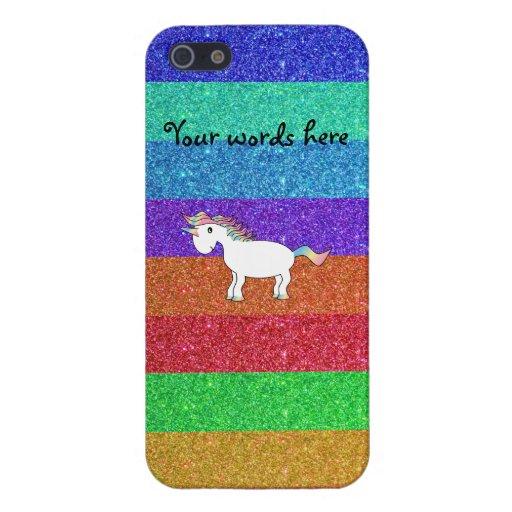 Rayas lindas del arco iris del brillo del unicorni iPhone 5 protectores