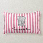 Rayas lindas del blanco del rosa del elefante almohada