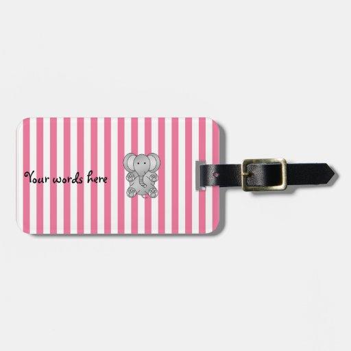 Rayas lindas del blanco del rosa del elefante etiquetas de maletas