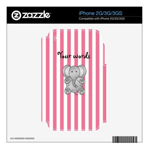 Rayas lindas del blanco del rosa del elefante skins para iPhone 3GS