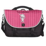 Rayas lindas del rosa de la momia bolsas para portátil