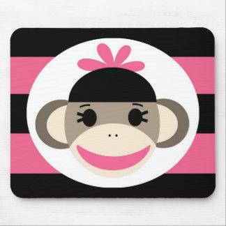 Rayas lindas del rosa del negro del mono del alfombrillas de ratón