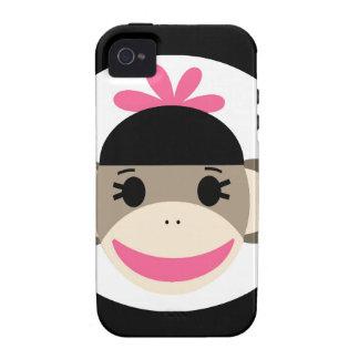 Rayas lindas del rosa del negro del mono del calce iPhone 4 carcasas