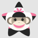 Rayas lindas del rosa del negro del mono del calce calcomanías forma de estrella personalizadas