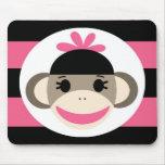 Rayas lindas del rosa del negro del mono del calce tapete de ratón