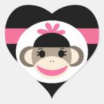 Rayas lindas del rosa del negro del mono del pegatina de corazón