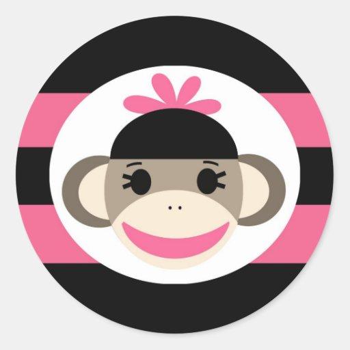 Rayas lindas del rosa del negro del mono del pegatina redonda