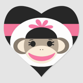 Rayas lindas del rosa del negro del mono del pegatina en forma de corazón