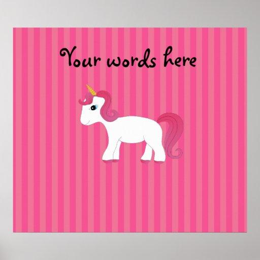 Rayas lindas del rosa del unicornio posters