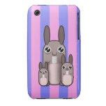 Rayas lindas del vector de la familia del conejo d iPhone 3 Case-Mate funda