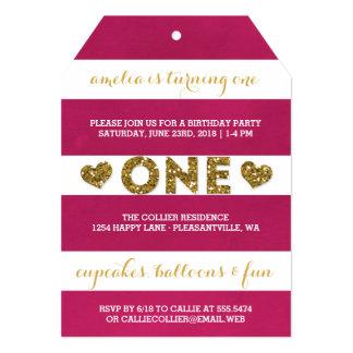 Rayas lindas y fiesta de cumpleaños de la mirada invitación 12,7 x 17,8 cm