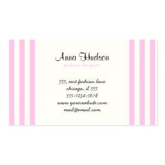 Rayas (líneas paralelas) - blanco rosado tarjeta de negocio