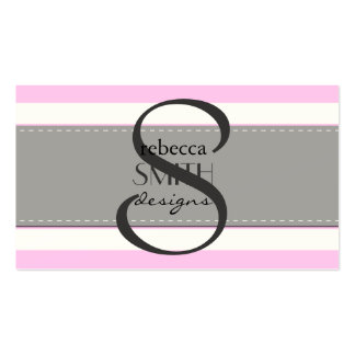 Rayas (líneas paralelas) - blanco rosado tarjeta personal