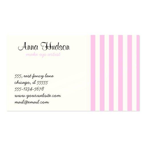 Rayas (líneas paralelas) - blanco rosado tarjeta de visita