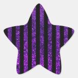 Rayas (líneas paralelas), brillo - negro púrpura colcomanias forma de estrellaes personalizadas