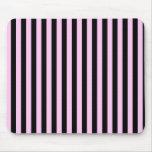 Rayas (líneas paralelas) - negro rosado alfombrilla de ratón
