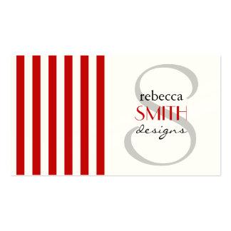Rayas (líneas paralelas) - rojo blanco plantilla de tarjeta de negocio