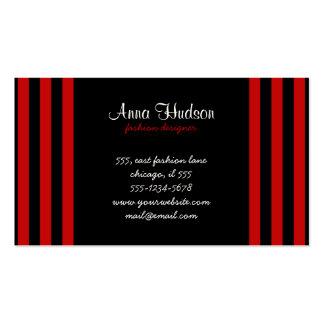Rayas (líneas paralelas) - rojo negro tarjetas de visita