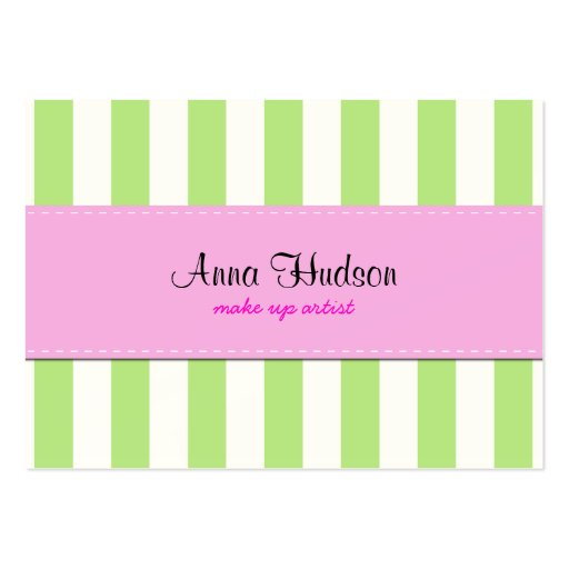 Rayas (líneas paralelas) - rosa verde blanco tarjeta de visita