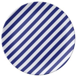Rayas majestuosas en azul platos de cerámica