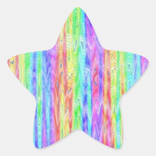 Rayas manchadas pastel pegatina en forma de estrella