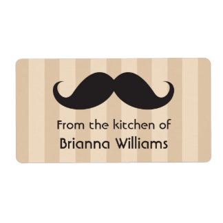 Rayas marrones del bigote de la cocina de etiqueta etiqueta de envío