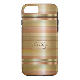 Rayas metálicas 2 del oro y del cobre funda iPhone 7
