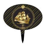 Rayas metálicas de oro del oro del velero y del an figuras para tartas