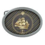 Rayas metálicas de oro del oro del velero y del an hebillas de cinturon