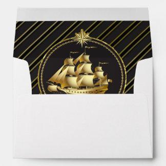 Rayas metálicas de oro del oro del velero y del an