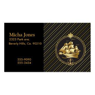 Rayas metálicas de oro del oro del velero y del an tarjetas personales