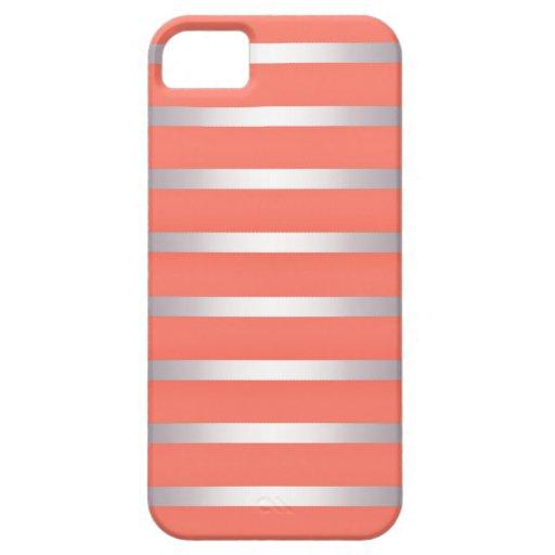 Rayas metálicas de plata de Sheen contra rosa iPhone 5 Case-Mate Protectores
