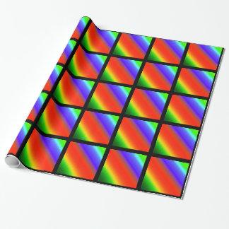 Rayas metálicas del arco iris papel de regalo