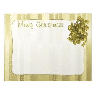 Rayas metálicas del navidad del oro del diseño de blocs de notas