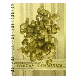 Rayas metálicas del navidad del oro del diseño de libretas