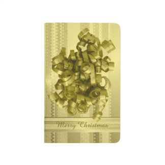 Rayas metálicas del navidad del oro del diseño de cuaderno grapado