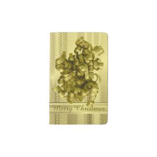 Rayas metálicas del navidad del oro del diseño de funda para libreta y libreta pequeña moleskine