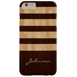 Rayas mezcladas de madera y del bambú - mirada de funda de iPhone 6 plus barely there