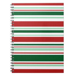Rayas mezcladas del navidad rojo, verde, blanco libro de apuntes con espiral