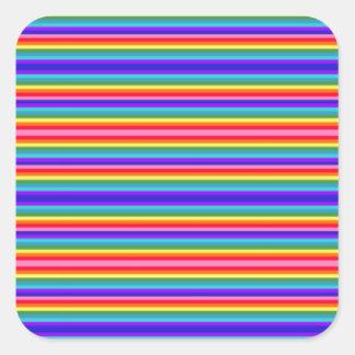 Rayas minúsculas de los colores del arco iris pegatina cuadrada