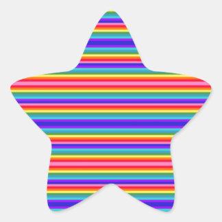 Rayas minúsculas de los colores del arco iris pegatina en forma de estrella