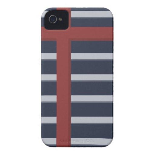 Rayas modernas azules Case-Mate iPhone 4 carcasa