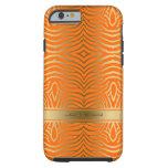 Rayas modernas de la cebra del naranja y del oro funda de iPhone 6 tough