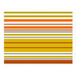Rayas modernas del blanco del amarillo anaranjado postal