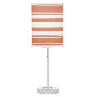 Rayas modernas del naranja y blancas lámpara de mesilla de noche