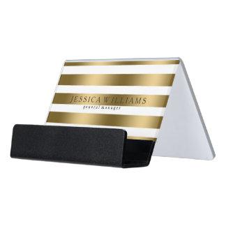 Rayas modernas del oro sobre blanco caja de tarjetas de visita para escritorio