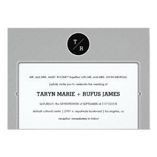 Rayas modernas que casan la invitación invitación 12,7 x 17,8 cm