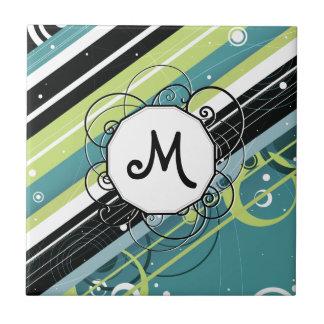 Rayas Moderno-Retras del trullo y de la cal con el Azulejo Cuadrado Pequeño