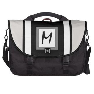 rayas, monograma de las iniciales bolsas de portatil