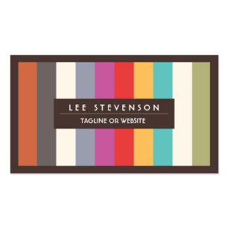 Rayas multi coloridas de la diversión retra rayada tarjeta de visita